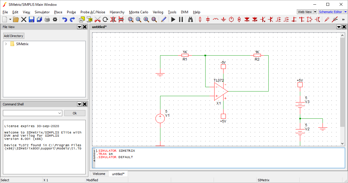 Tutorial 2: Creating a Schematic and Running a Simulation on