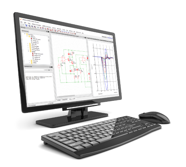 Illustration of SIMetrix in use on a computer